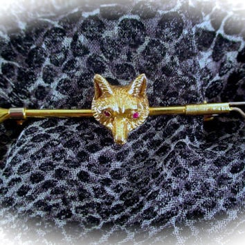 Antique 9k Gold STOCK TIE PIN 9k Gold Figural Ruby Eyed Fox Head Riding Crop Whip Equestrian Fox Hunt Stock Tie Pin