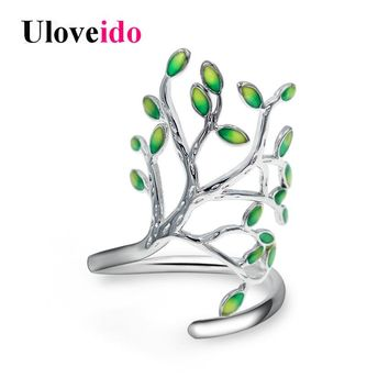 Uloveido Brass and Green Enamel Life Tree Rings for Women Resizable Ring Female Wedding Jewelry Green Ringen Gifts 5% Sale HR303