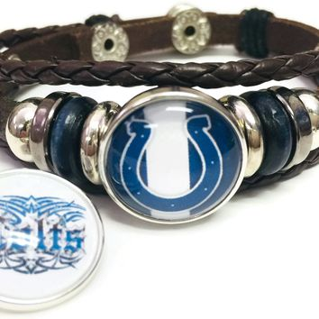 NFL Cool Blue Horseshoe & Tribal Tattoo Art Indianapolis Colts Bracelet Brown Leather Football Fan W/2 18MM - 20MM Snap Charms New Item