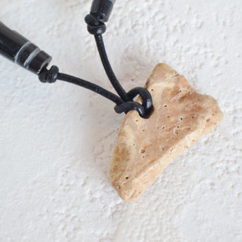 River Rock Necklace, Men's River Rock Jewelry, Stone Pendant Necklace, Unisex River Stone Necklace, River Stone Leather Necklace, Boho Chic
