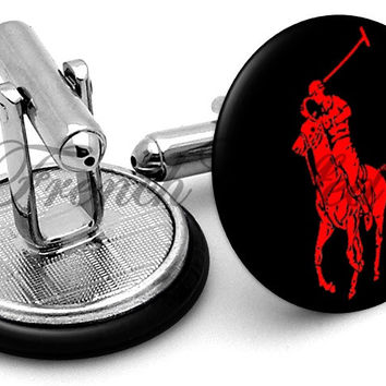 Ralph Lauren Polo Black Red Cufflinks