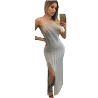 High-Slit Side Black And White Striped  Casual Maxi Dress Spaghetti Strap Long Dress  Sundress 61059 SM6