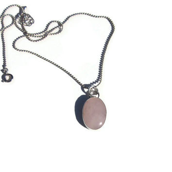 SALE Healing Rose Quartz and Sterling Silver Metalsmithed pendant Chakra cleansing, metaphysical, healing jewelry, calming jewelry