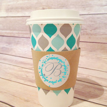 Custom Coffee Sleeves, 20 Paper Coffee Sleeves, Hot Tea or Cocoa Cup Cuffs, Teal Bokeh Lights Wedding Decor Sage Green