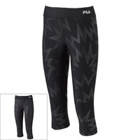FILA SPORT Power Embossed Reversible Performance Capri Leggings - Women's