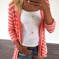 Luck Of The Stylish Coral Lace Bottom Cardigan
