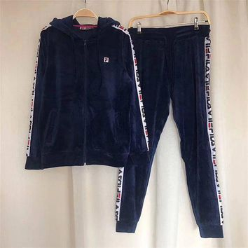One-nice™ FILA Women Fashion Velvet Hoodie Top Sweater Pants Trousers Set Two-Piece