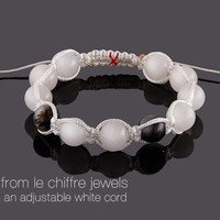 Iceland white and black quartz shamballa bracelet