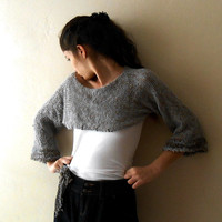 Feathery Soft Charcoal Grey Knit women crop sweater , off shoulder top wirh brooch Size large