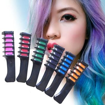 1pc DIY Pastel Hair Dye Comb Styling Multicolor Temporary Hair Color Chalk