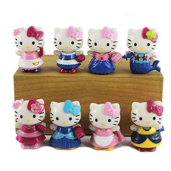 8pcs/bag Japan Cartoon Anime 6.5cm Kawaii hello kitty Action Figures KT cat princess Cake Figurine Decor girls love gift toys