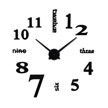 DIY acrylic mirror wall clock 3d big quartz watch still life modern clocks living room home decoration stickers