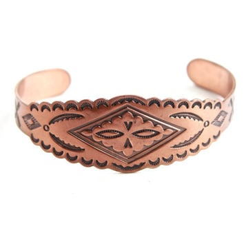 Vintage Copper Cuff Bracelet - 1960s Native American Style Embossed Costume Jewelry / Arrows
