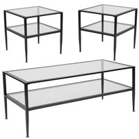 Newport Collection 3 Piece Coffee and End Table Set with Glass Tops and Black Metal Frames [HG-CEK-16-GG]