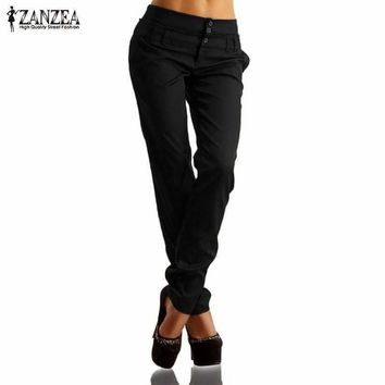Women Long Pants High Waist Buttons Zipper  Pencil Pants Capris Plus Size