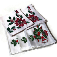 Vintage Holiday Napkins, Holly and Bells, 2 Different Designs, 5 Total, Red and Green, Cotton, Christmas Decor, Quilting Fabric