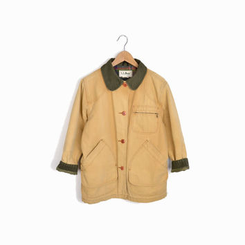 Vintage L.L. Bean Canvas Field Coat Jacket with Corduroy Trim - Tan & Green - Women's Petite Small