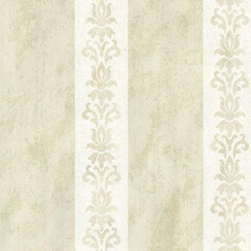 Brewster Wallpaper 672-20076 Parisi Cream Embellished Damask Stripe