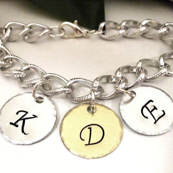 Personalized Jewelry, Initial Bracelet, Hand Stamped Jewelry, Monogram Jewelry, 3 Discs Two Toned