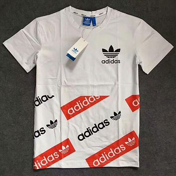 ADIDAS cotton counter section round neck short sleeve t-shirt F-XMCP-YC White