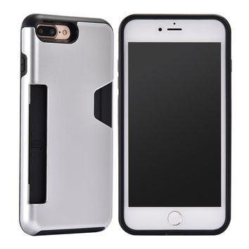 iPhone 6 Plus,iPhone 6s Plus,DAMONDY Card Slot Holder Dual Layer Shock Protective with Rugged Hard Shell Skin Flexible Soft TPU Rubber Hybrid tough Bumper Armor for iPhone 6 Plus/6s Plus -silver