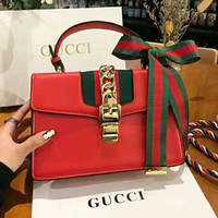 GUCCI High Quality Classic Trending Women Stylish Leather Stripe Handbag Tote Shoulder Bag Crossbody Satchel Red