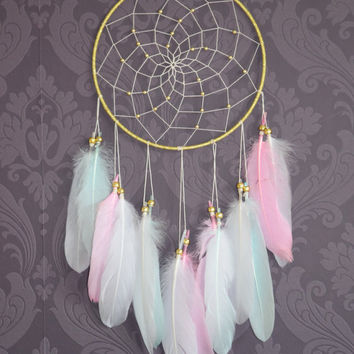 Large Dream catcher, Wall Hanging Dreamcatcher, Wite Pink Mint Feathers Dream catcher, Wall Nursery Decor, Baby Shower Gift, Baby Nursery