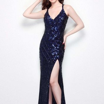 Primavera Couture - 9490 All-Glam Plunging V-Neck Evening Gown