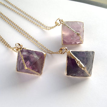 Purple Fluorite Necklace Fluorite Pendant Raw Rough Fluorite Crystal Gold Dipped Raw Mineral Jewelry Crystal Neсklace Fluorite Cube Jewelry