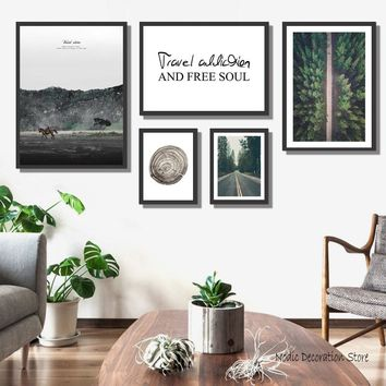 Nordic Poster Travel Wall Art Canvas Painting Road Landscape Poster Picture Forest Posters And Prints Horse Wall Canvas Unframed