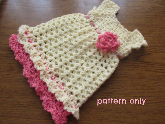 Crochet Baby Clothes : Crochet baby dress PATTERN , crochet from Justpattern on Etsy