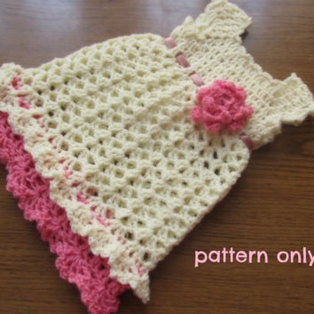 Crochet baby dress PATTERN , crochet pattern, dress pattern , baby girl dress pattern, crochet pattern