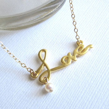 Love Necklace with Cute Fresh Water Baby Pearl by Yameyu