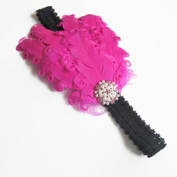 baby girls Headband, hot pink featherpad headband, photo prop, black headband, newborn headband, Uk seller