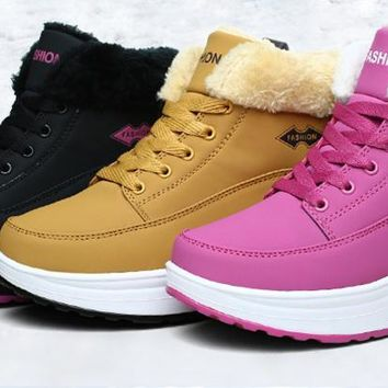 Platform Boots Shoes Snow Women Thermal Cotton-padded Shoes Flat Ankle