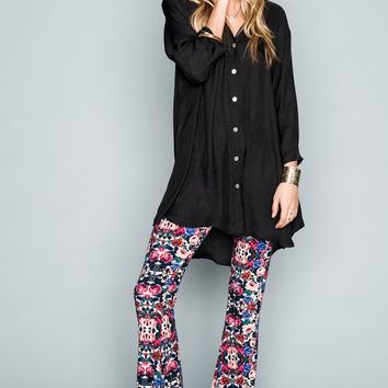 Show Me Your mumu Downtown Tunic ~ Black Silky Satin