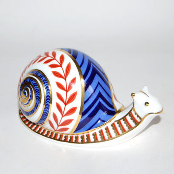 Royal Crown Derby Snail Paperweight First Quality Vintage Bone China Gilded Imari Animal Figurine Collectibles Home Decor Gift