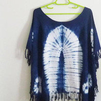 Oversized t shirt women tassel shirt/ wide neck shirt/ rayon white indigo tie dye shirt /plus size tee chest 48 inch blouse