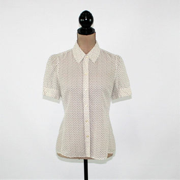 Short Sleeve Blouse Cotton Silk Top Button Up Shirt Women Small White Brown Dot Print Semi Sheer Blouse Banana Republic Womens Clothing