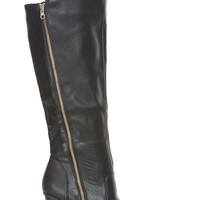 Black Faux Leather Knee High Zipper Accent Chunky Boots
