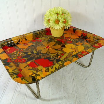 Retro Flower Power Design Metal Bed Tray Folding Table - Vintage Metal Portable Lap Desk Design - Crusty Rusty Shabby Chic Serving / Display