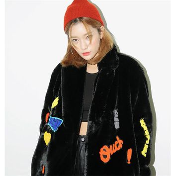 Faux Rabbit Fur Embroidered Coat