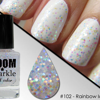 Rainbow Ice (102) - Iridescent Glitter Nail Polish - Nail Art Topper Overcoat - Opalescent Nailpolish