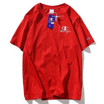 Champion Summer Fashion New Embroidery Letter Women Men Top T-Shirt Red