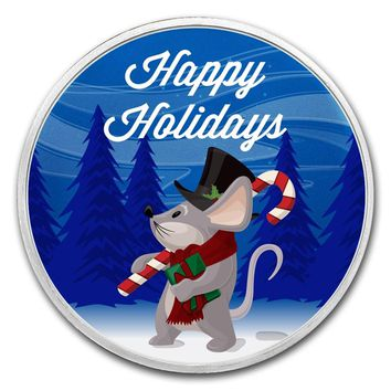 1 oz Silver Round - Happy Holidays (Mouse)
