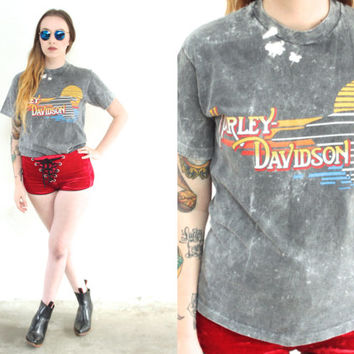 Vintage 90s HARLEY DAVIDSON Acid Wash Bleached T Shirt Tee // Black Grey // Hipster Biker Bohemian Gypsy // XS Extra Small / Small