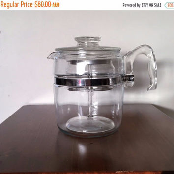 PYREX SALE: Vintage 1960s Pyrex Flameware USA 7759 9 Cup Coffee Percolator / Retro Glass Coffee Maker / Stove Top Coffee Maker