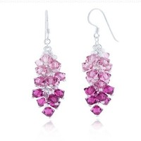 925 Sterling Silver Pink Faceted Swarovski Crystal Beads Dangle Hook Earrings