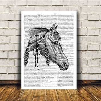 Animal art Dictionary print Modern decor Horse poster RTA389