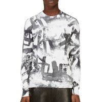 Versace Grey And White Brushstroke Sweater